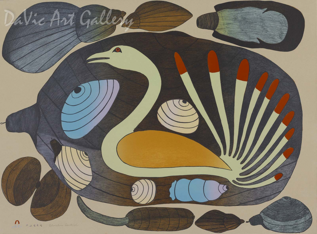 """Shoreline Sentinel"" by Kenojuak Ashevak - Inuit Art - Cape Dorset 2003"