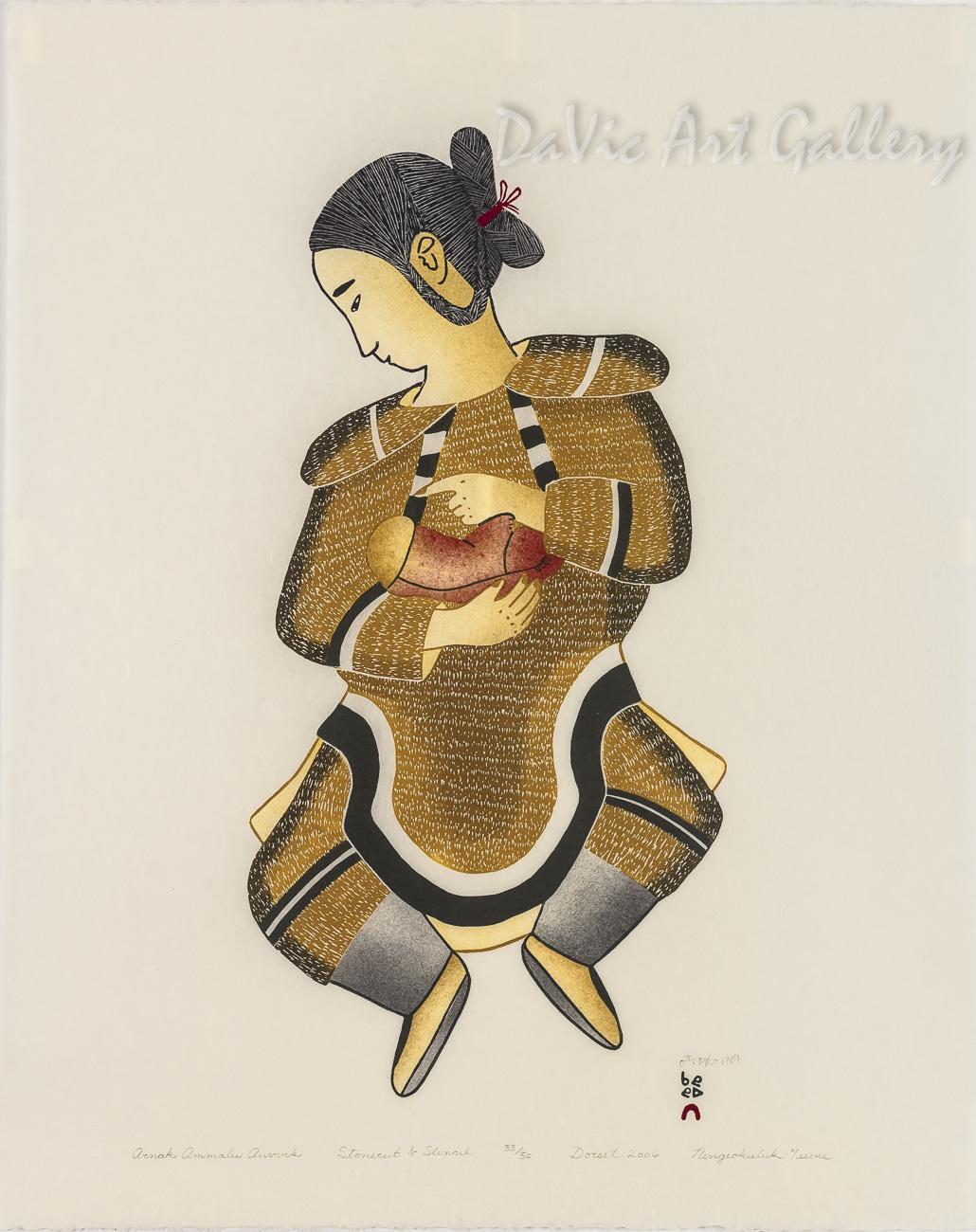 """Arnak Ammalu Auvvik (The Woman and The Caterpillar)"" by Ningeokuluk Teevee - Cape Dorset 2009"