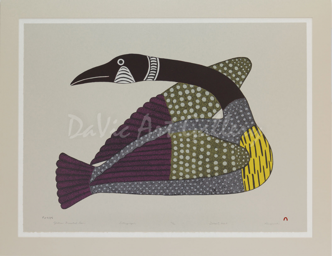 """Yellow Breasted Loon"" by Kenojuak Ashevak - Inuit Art - Cape Dorset 2007"