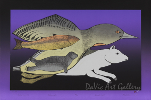 """Arctic Ensemble"" by Pitaloosie Saila, RCA - Inuit - Cape Dorset 2009"