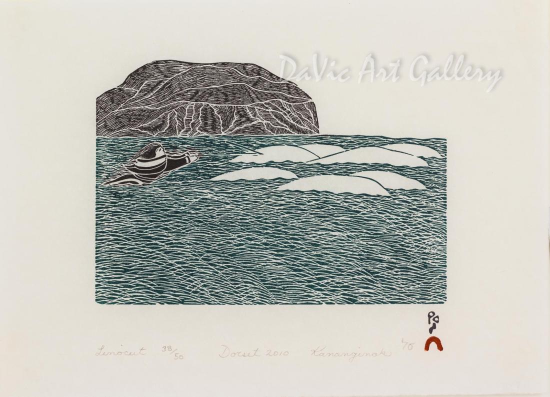 """Aulajijakka (Things I Remember) - Sedna and Beluga"" by Kananginak Pootoogook - Inuit - Cape Dorset 2010"