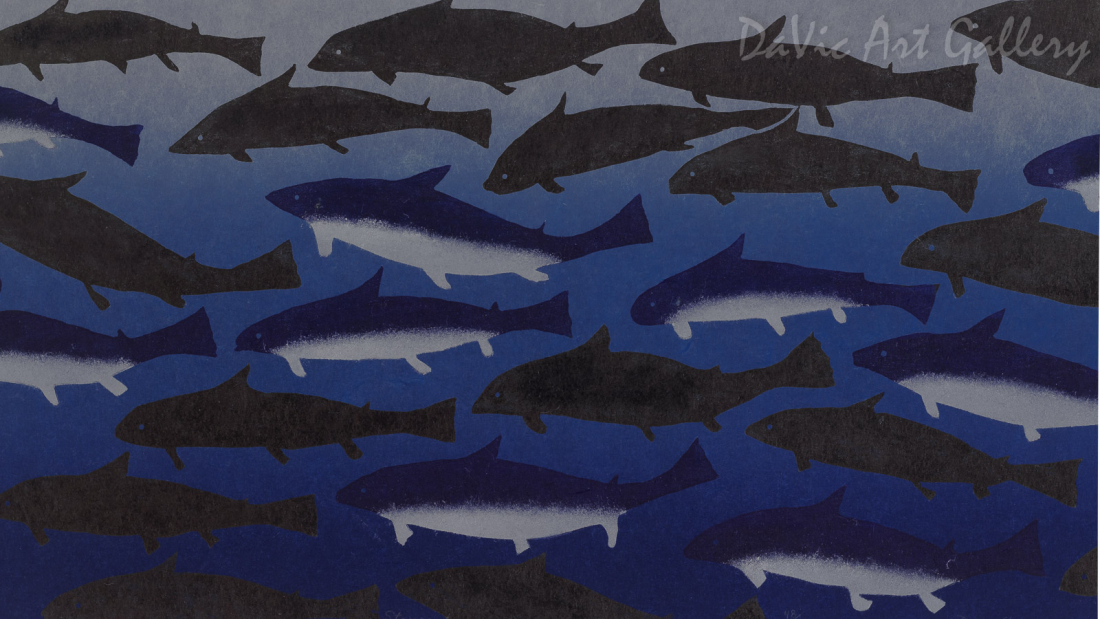 """Iqalukjuat (Blue Sharks)"" by Papiara Tukiki - Inuit - Cape Dorset 2011"