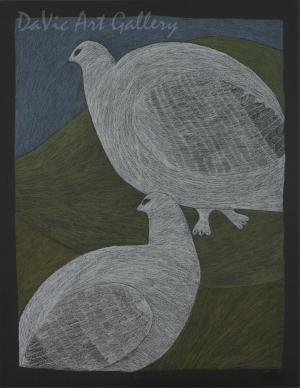 """Two Ptarmigans"" by Ningeokuluk Teevee - Inuit - Cape Dorset 2012"