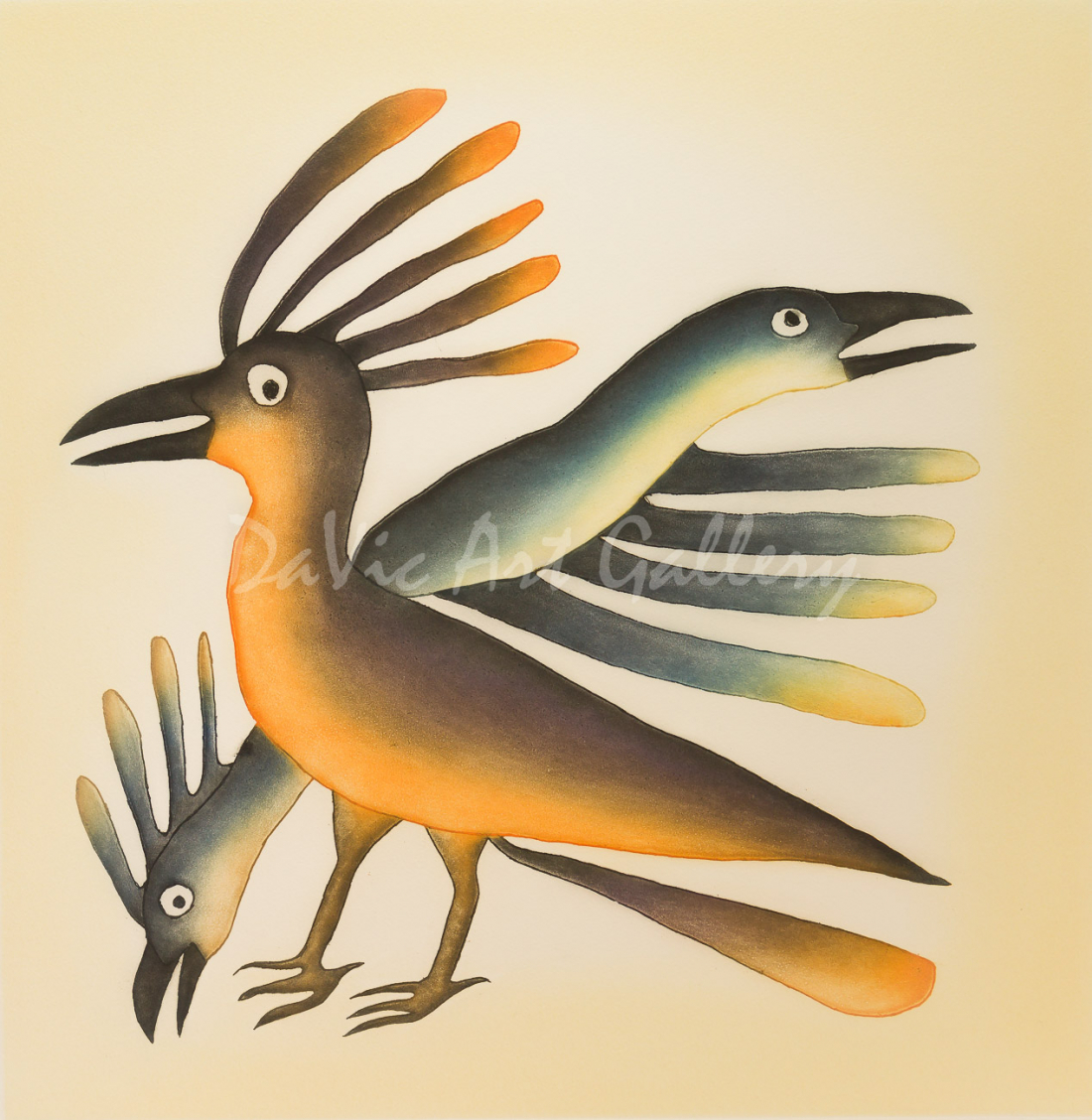 """Alerted Birds"" by Kenojuak Ashevak Inuit - Cape Dorset 2013"