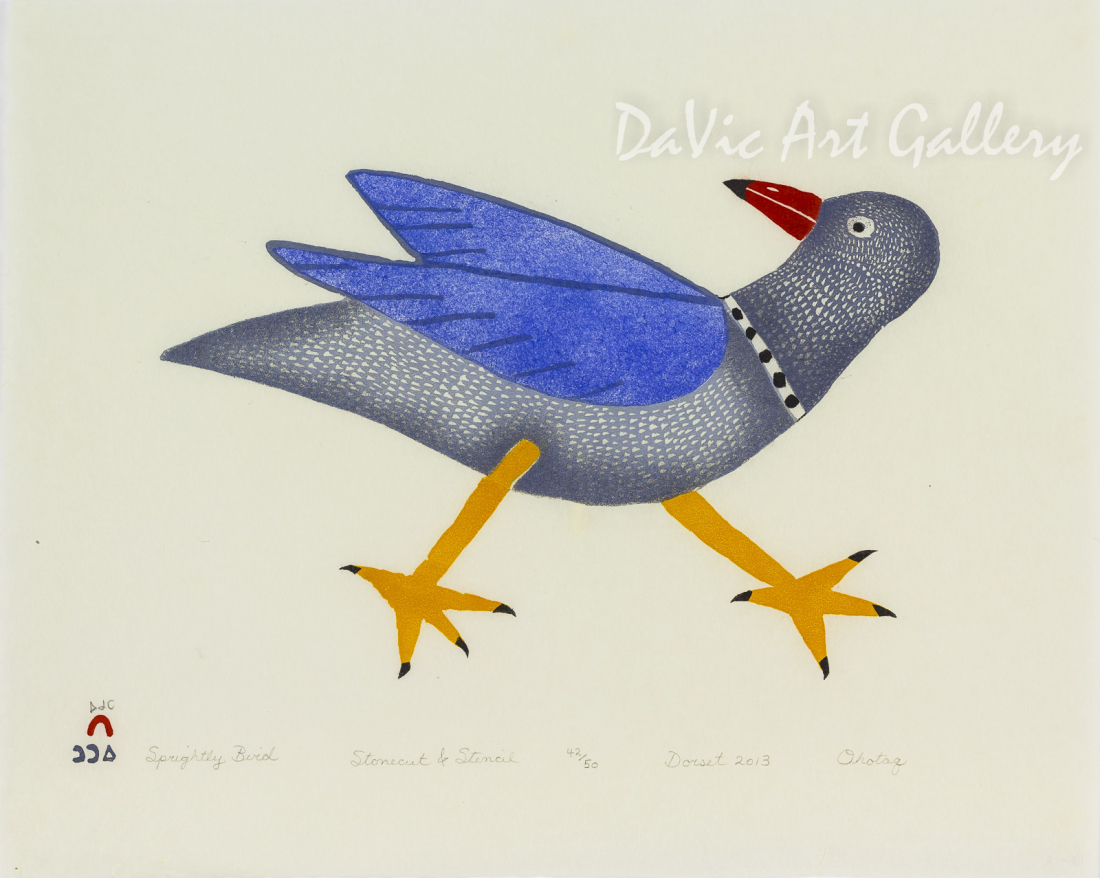 """Sprightly Bird"" by Ohotaq Mikkigak - Inuit - Cape Dorset 2013"