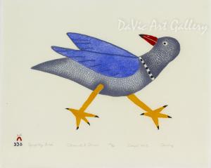 """Sprightly Bird"" by Ohotaq Mikkigak - Inuit - Cape Dorset 2013"