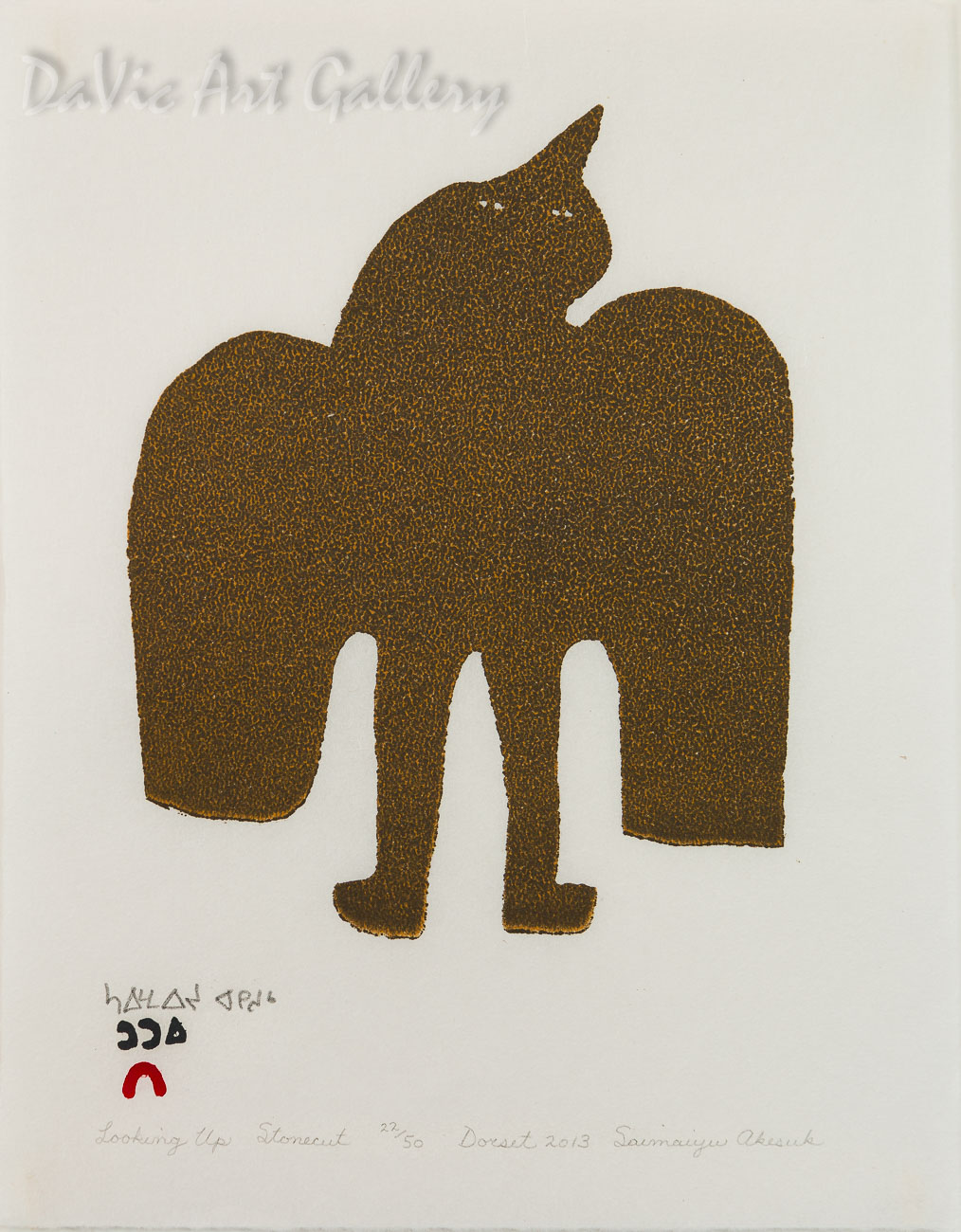 """Looking Up"" by Saimaiyu Akesuk - Inuit - Cape Dorset 2013"