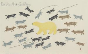 """Polar Bear in Camp"" by Papiara Tukiki - Inuit - Cape Dorset 2015"