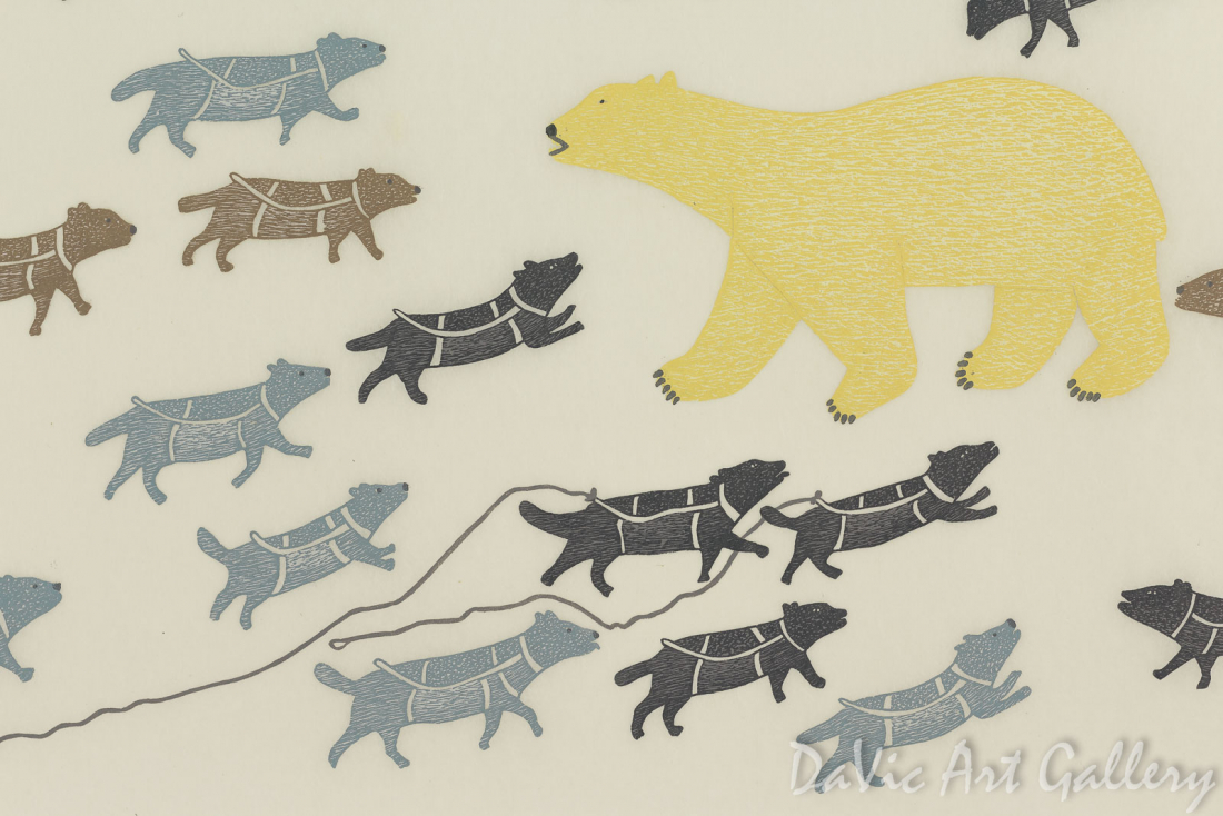"""Polar Bear in Camp"" by Papiara Tukiki - Inuit - Cape Dorset 2015"