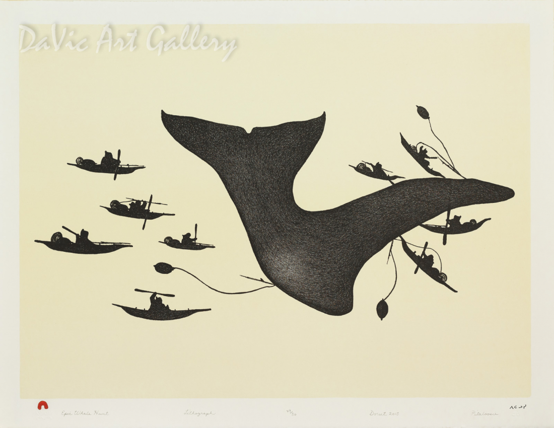 """Epic Whale Hunt"" by Pitaloosie Saila, RCA - Inuit - Cape Dorset 2015"