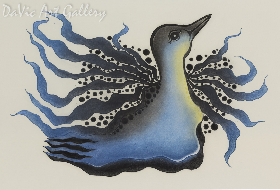 """Sparkling Loon"" by Pitaloosie Saila, RCA - Inuit - Cape Dorset 2015"