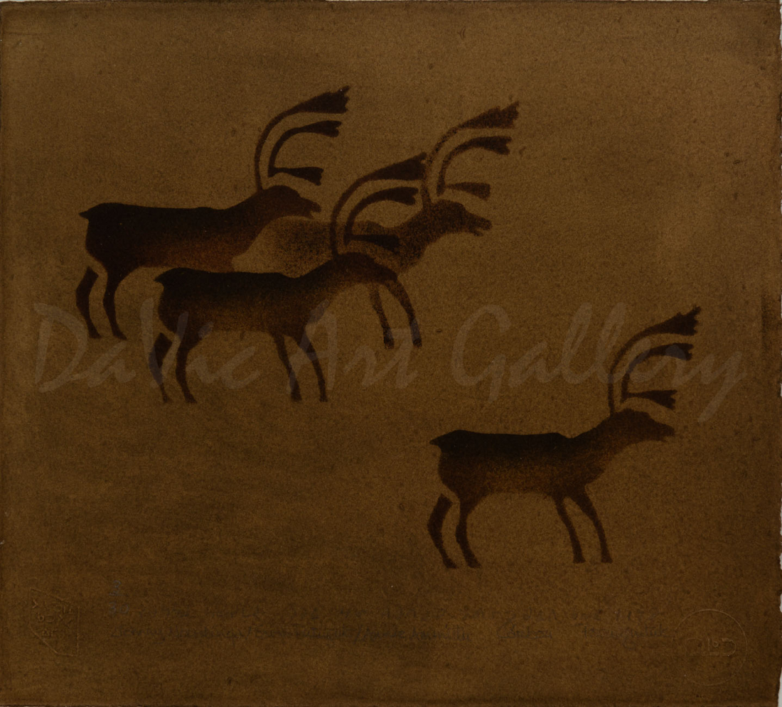 """Caribou"" by Johnny Novalinga - Inuit - Puvirnituq 1978"