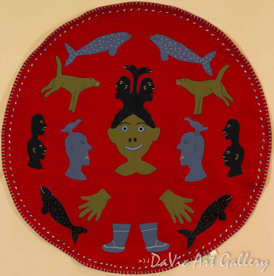 Untitled (Shaman With Spirits) by Therese Putugok Siksik - Inuit - Rankin Inlet