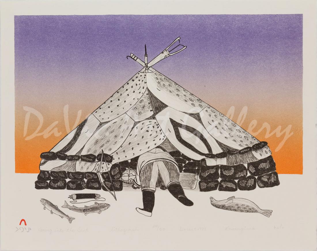 'Going Into the Tent' by Kananginak Pootoogook