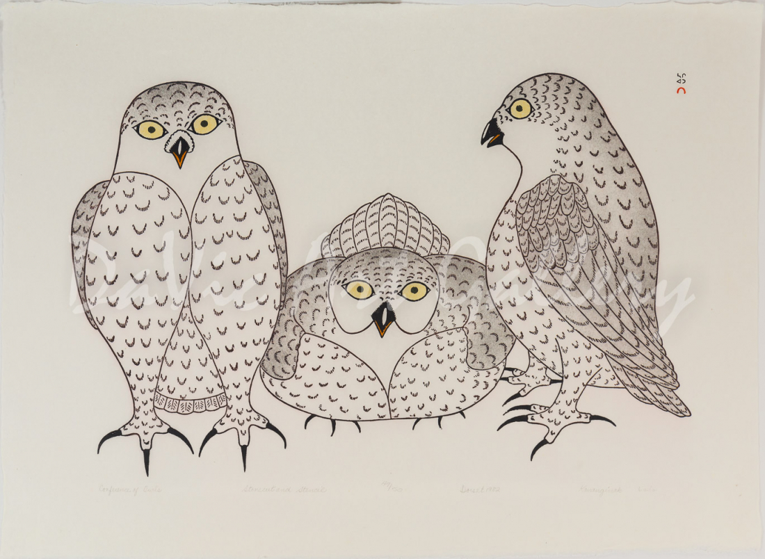 """Conference of Owls"" by Kananginak Pootoogook"