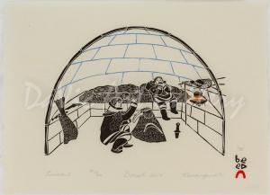 Aulajijakka (Things I Remember) - Cutting Walrus in Igloo by Kananginak Pootoogook
