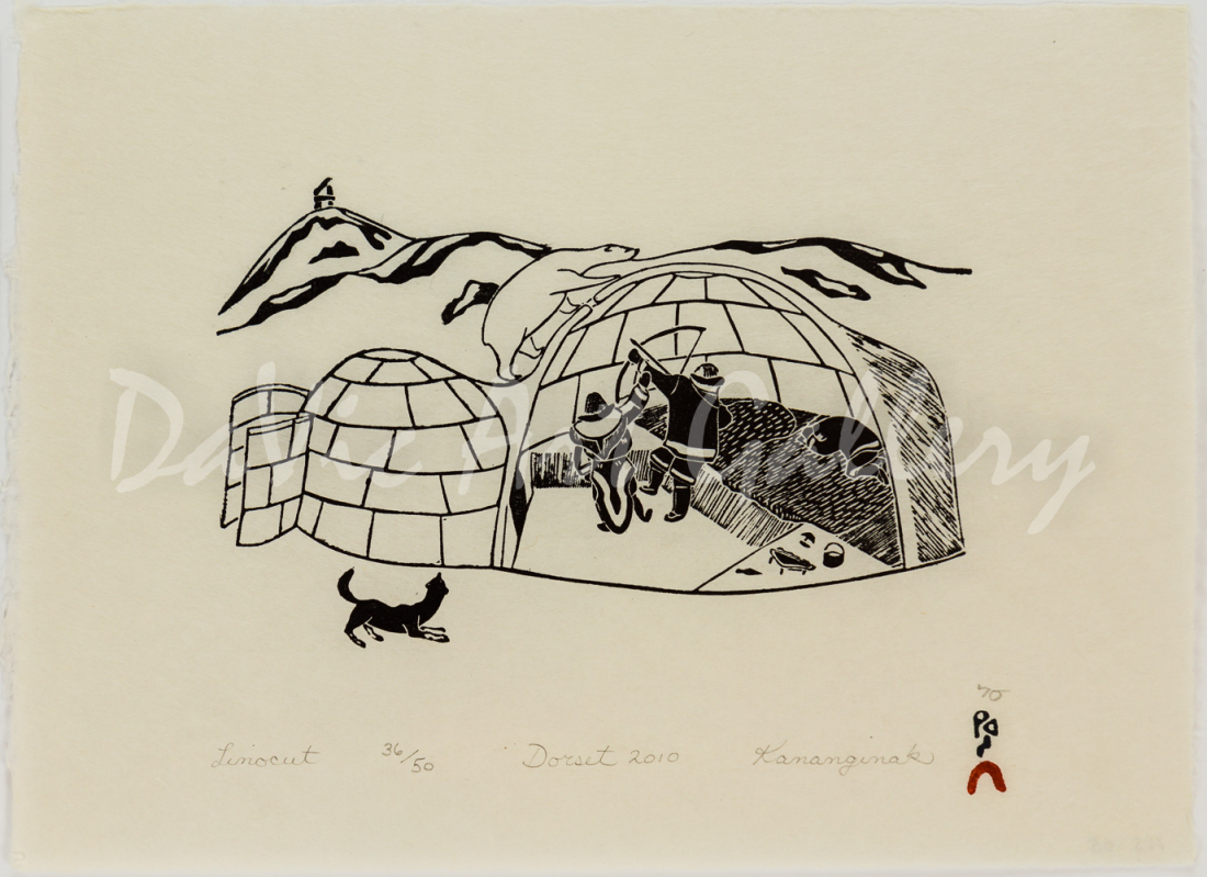 "Aulajijakka"" (Things I Remember) - Hunting Bear in Igloo by Kananginak Pootoogook"