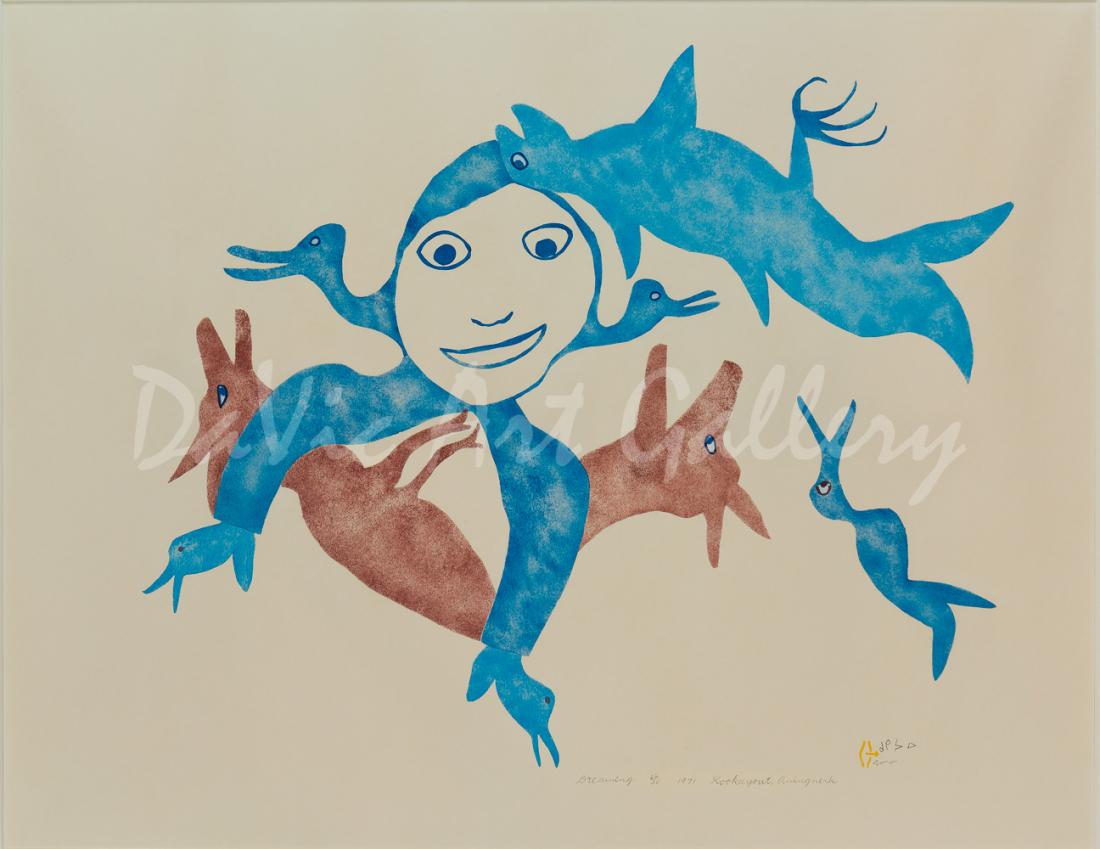 'Dreaming' by Myra Kukiiyaut - Inuit Art - Baker Lake 1971