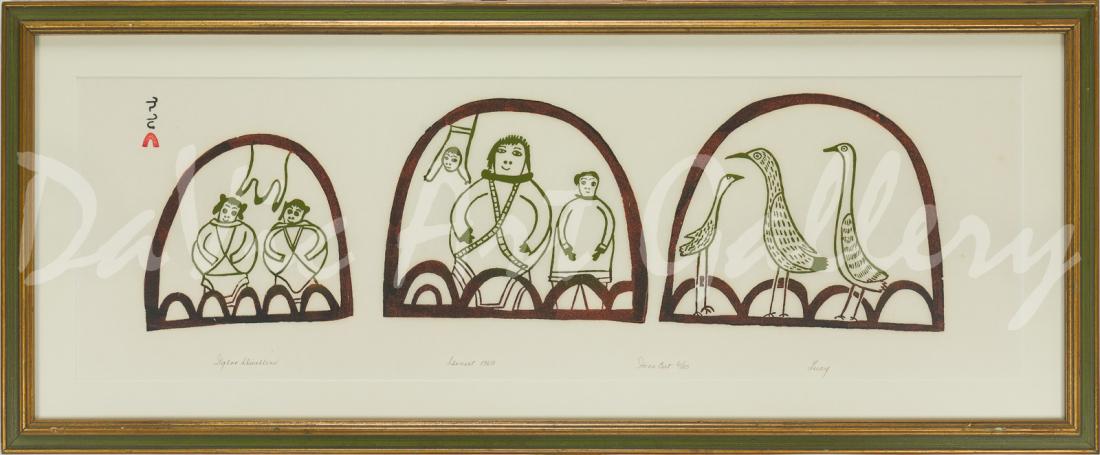 'Igloo Dwellers' by Lucy Qinnuayuak - Cape Dorset 1969