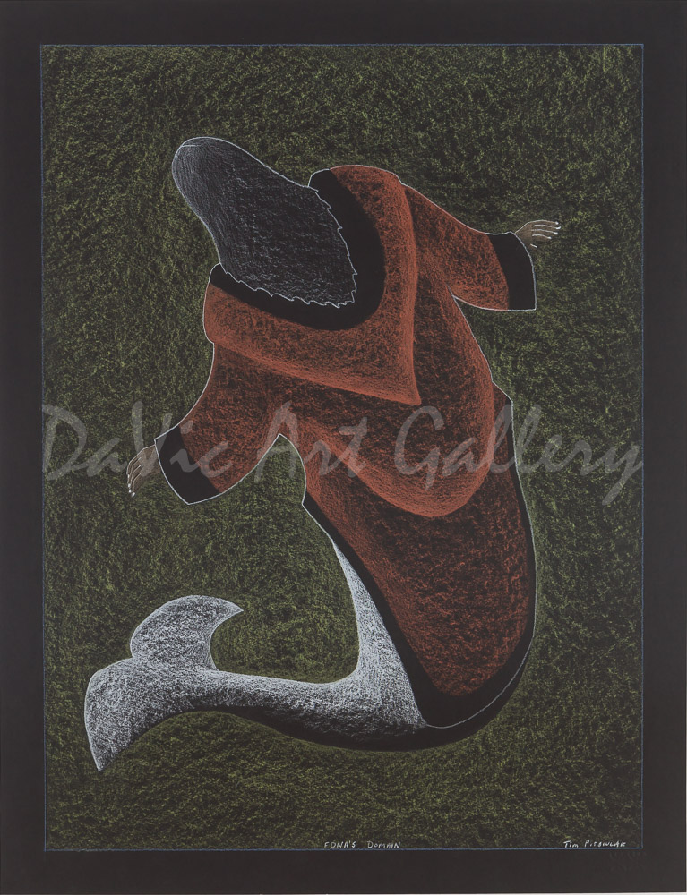 'Edna's Domain', Original drawing by Tim Pitsiulak presented by Native Canadian Arts - Inuit Art