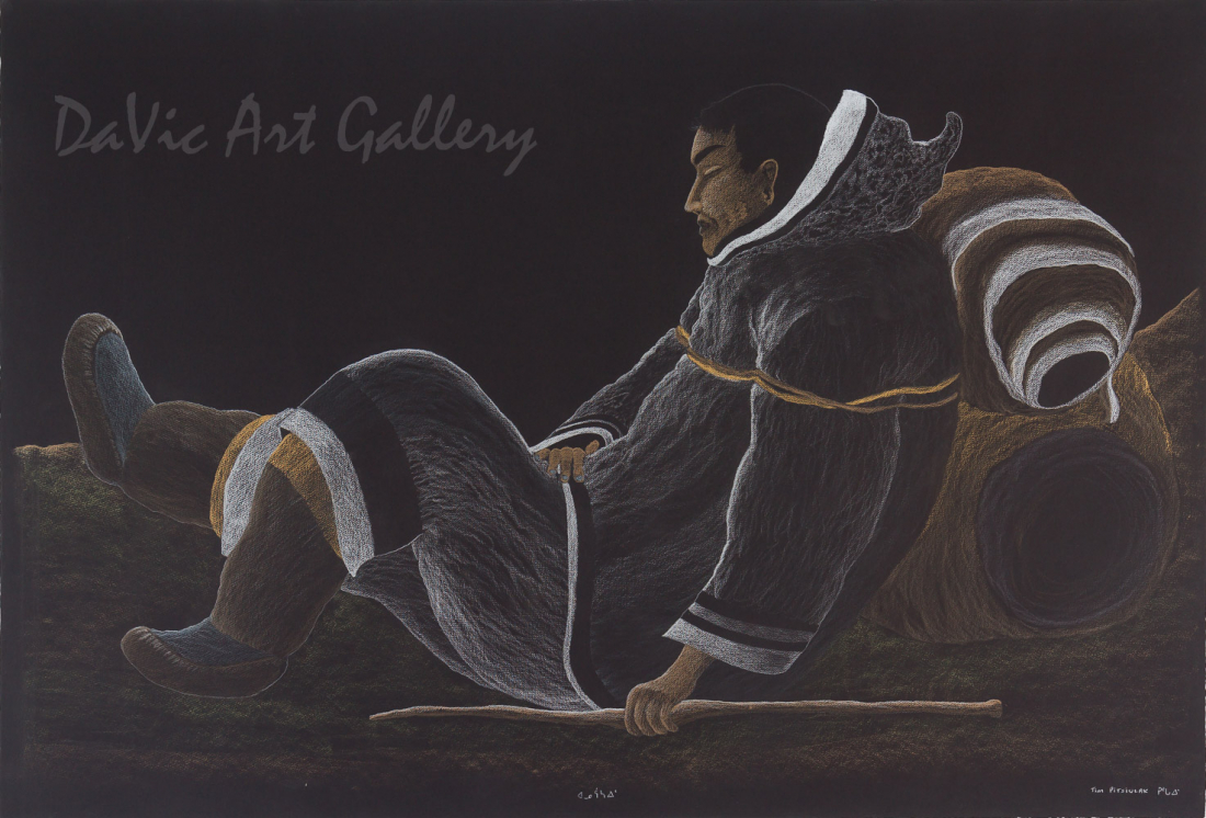 'Carrying Caribou Hides for Winter Clothing', by Tim Pitsiulak - Cape Dorset 2013