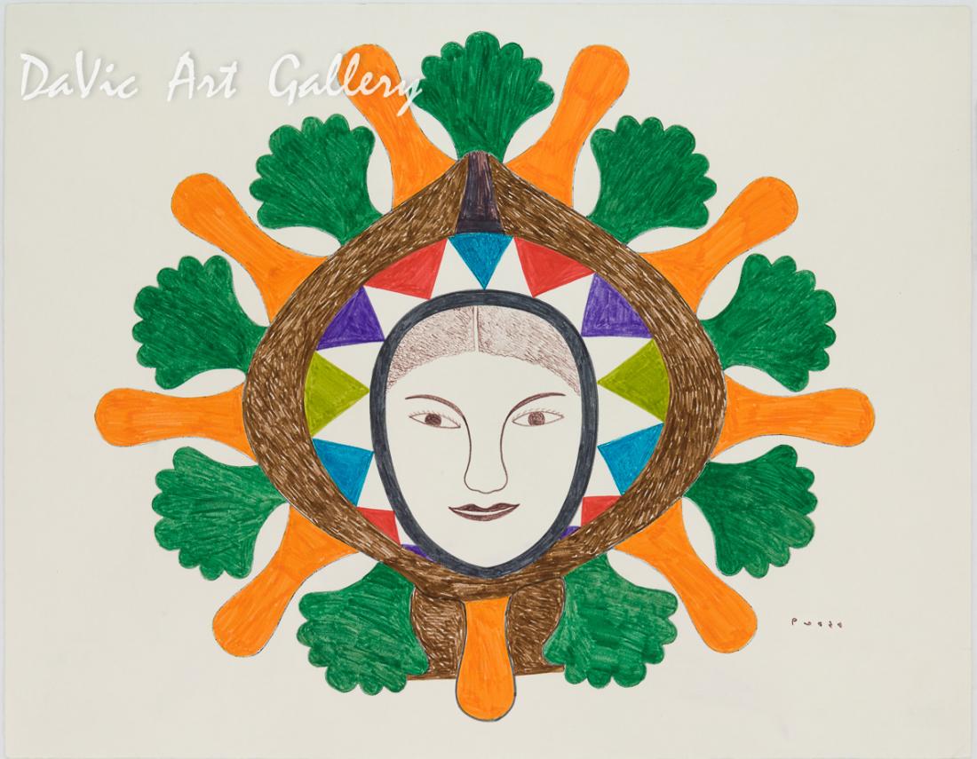 'Deep in Thought' by Kenojuak Ashevak - Cape Dorset original Inuit Art drawing
