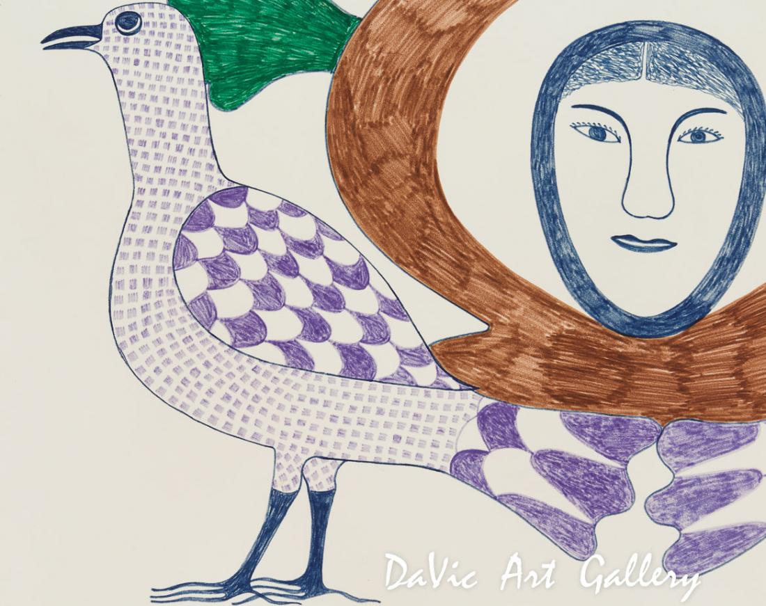 'My Birds' by Kenojuak Ashevak - Cape Dorset original Inuit Art drawing