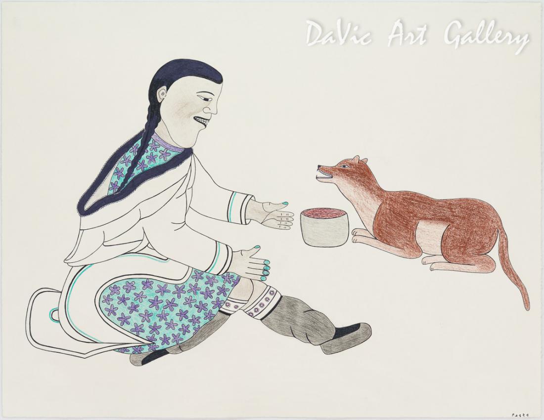 'Gratitude' by Kenojuak Ashevak - Cape Dorset original Inuit Art drawing