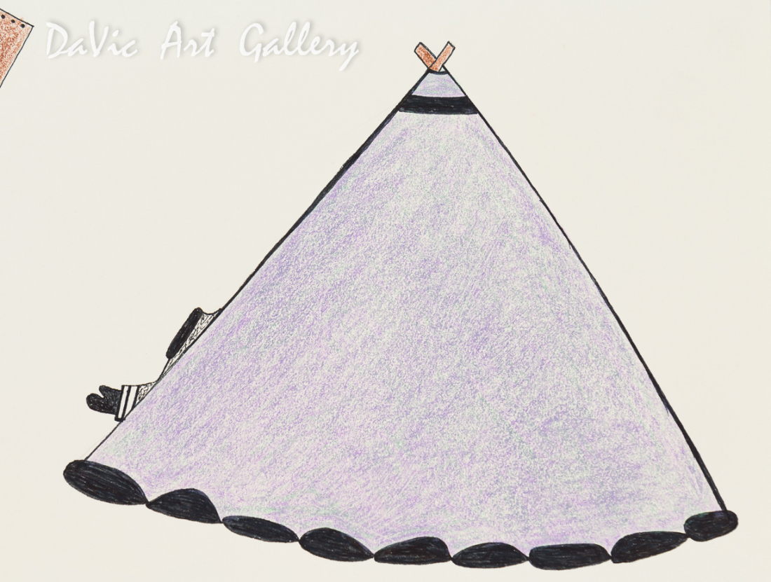 'Summer Camp Setup' by Kenojuak Ashevak - Cape Dorset original Inuit Art drawing