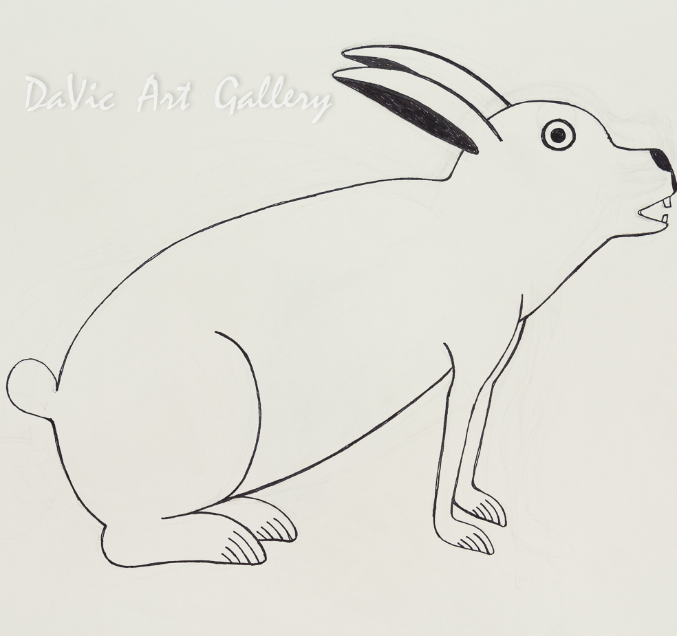 'Shy Rabbit' by Kenojuak Ashevak - Cape Dorset original Inuit Art drawing