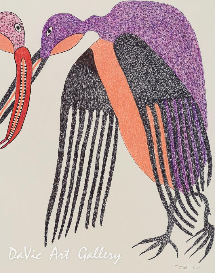 'Bird Courtship' by Meelia Kelly - Cape Dorset original Inuit Art drawing