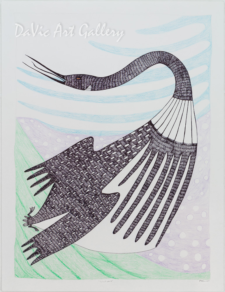 'Spirit World' by Ningeokuluk Teevee - Cape Dorset original Inuit Art drawing