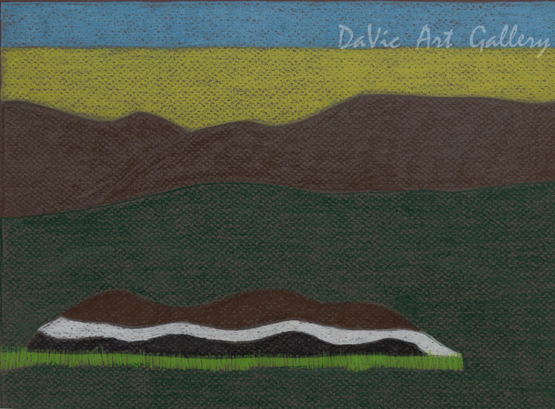 'Two Hills' by Nujalia Quvianaqtuliaq - Cape Dorset original Inuit Art drawing