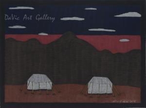 'Two Tents' by Nujalia Quvianaqtuliaq - Cape Dorset original Inuit Art drawing