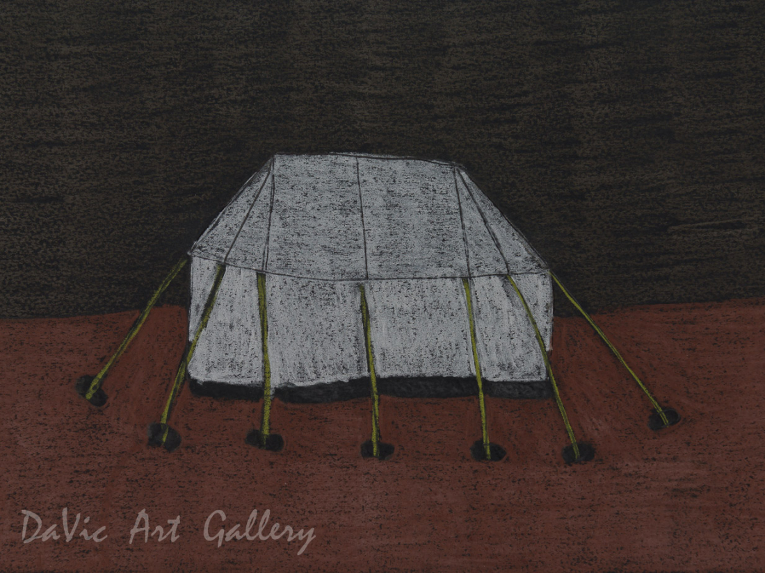 'Two Tents' by Nujalia Quvianaqtuliaq - Cape Dorset original Inuit Art drawing