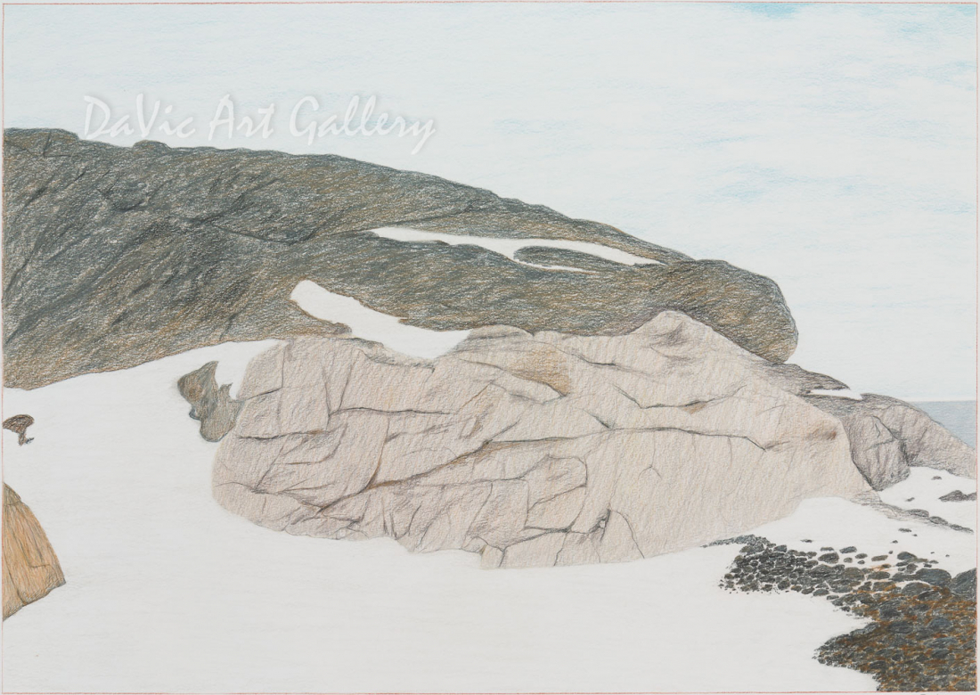 'Aupaluktuq Near Cape Dorset' by Itee Pootoogook - Cape Dorset original Inuit Art drawing