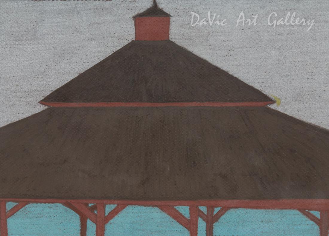 'Red Gazebo' by Nujalia Quvianaqtuliaq - Cape Dorset original Inuit Art drawing