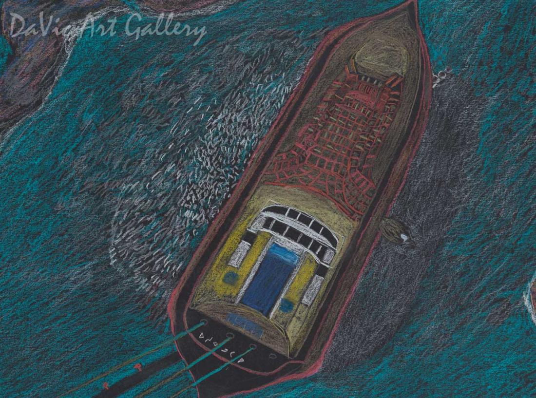 'Windy Day' by Ohotaq Mikkigak - Cape Dorset original Inuit Art drawing