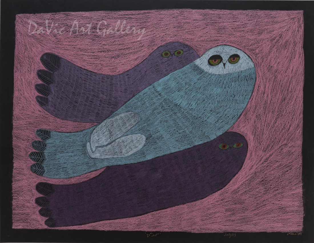 'Into the Night' by Ningeokuluk Teevee - Cape Dorset original Inuit Art drawing