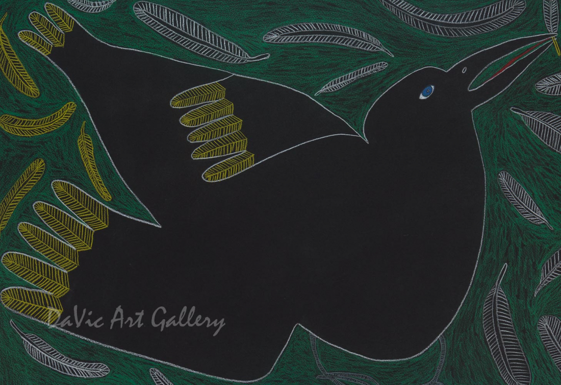 'Tulugaq Feather Ruffle' by Ningeokuluk Teevee - Cape Dorset original Inuit Art drawing
