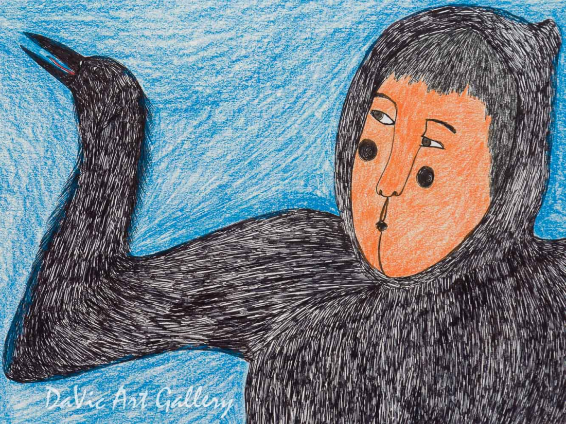 'The Boy who Ate Ravens Becomes a Raven' by Ningeokuluk Teevee - Cape Dorset original Inuit Art drawing