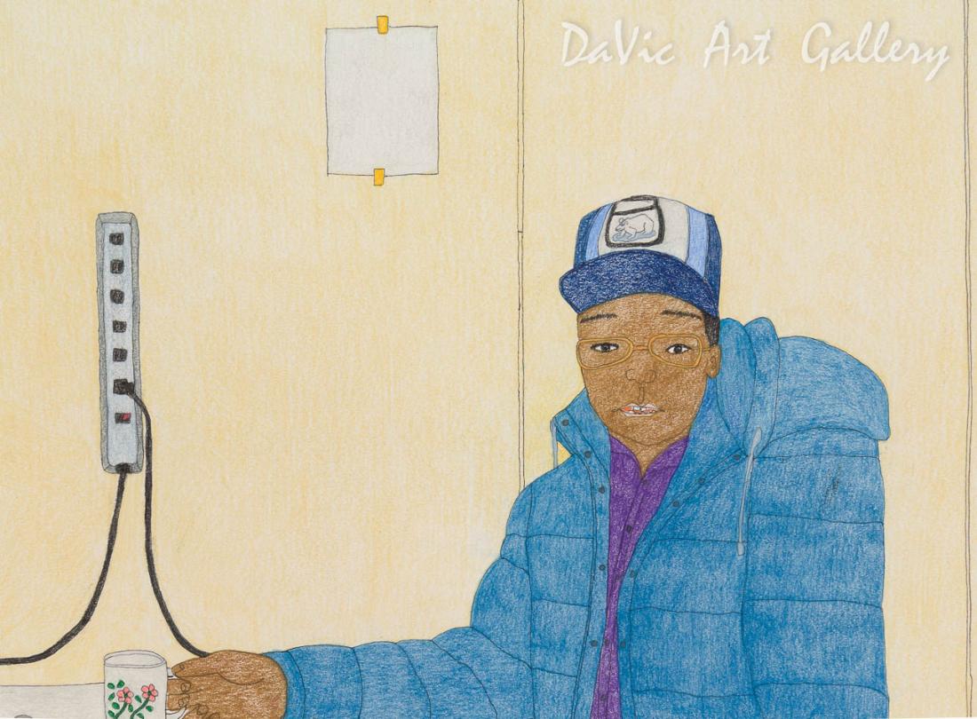 'Empty List' by Kudluajuk Ashoona - Cape Dorset original Inuit Art drawing