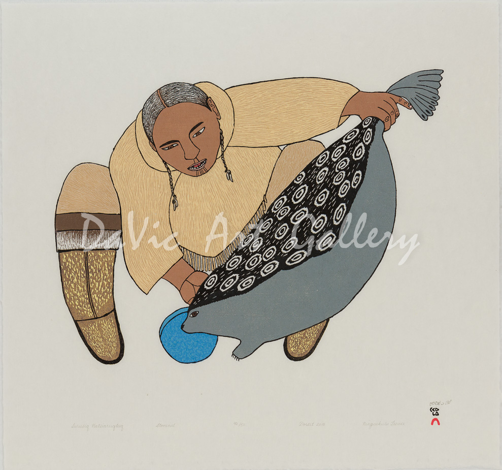 Surusiq Natsiaruqtuq (The Boy Turns into a Seal) by Ningeokuluk Teevee - Cape Dorset 2018