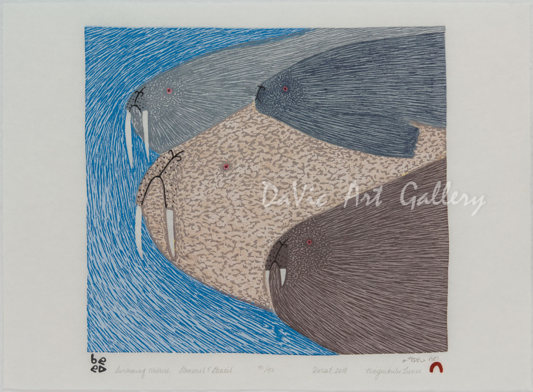 Swimming Walrus by Ningeokuluk Teevee - Cape Dorset 2018