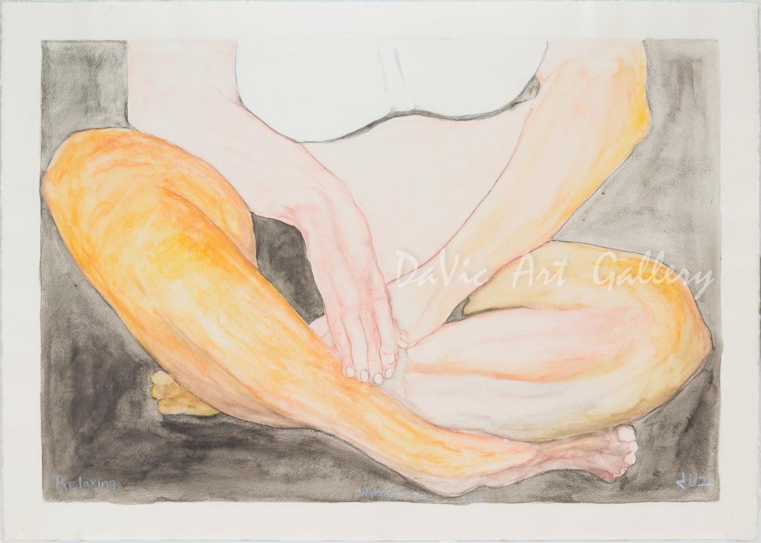 'Relaxing' by Jutai Toonoo - Cape Dorset original Inuit Art drawing