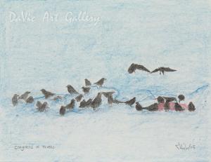 'Congress of Ravens' by Jutai Toonoo - Cape Dorset original Inuit Art drawing