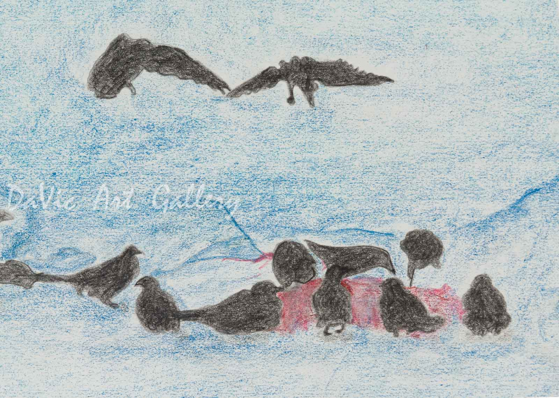 'Congress of Ravens' by Jutai Toonoo - Cape Dorset original Inuit Art drawing