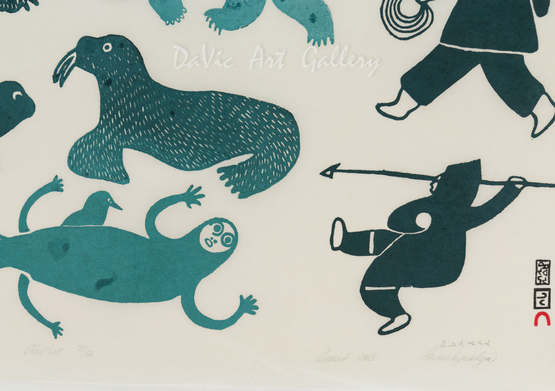 'Hunter's Vision' by Innukjuakju Pudlat - Cape Dorset Limited Edition Art print