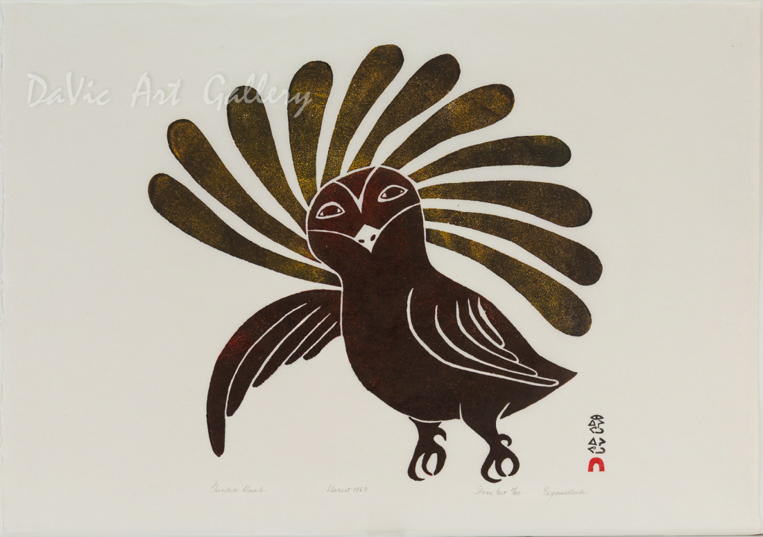 'Tundra Hawk' by Eegyvudluk Ragee - Cape Dorset Limited Edition Art print