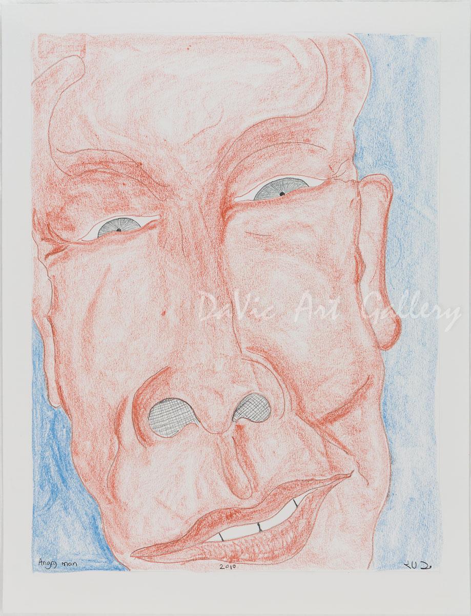 'Angry Man' by Jutai Toonoo - Cape Dorset original Inuit Art drawing